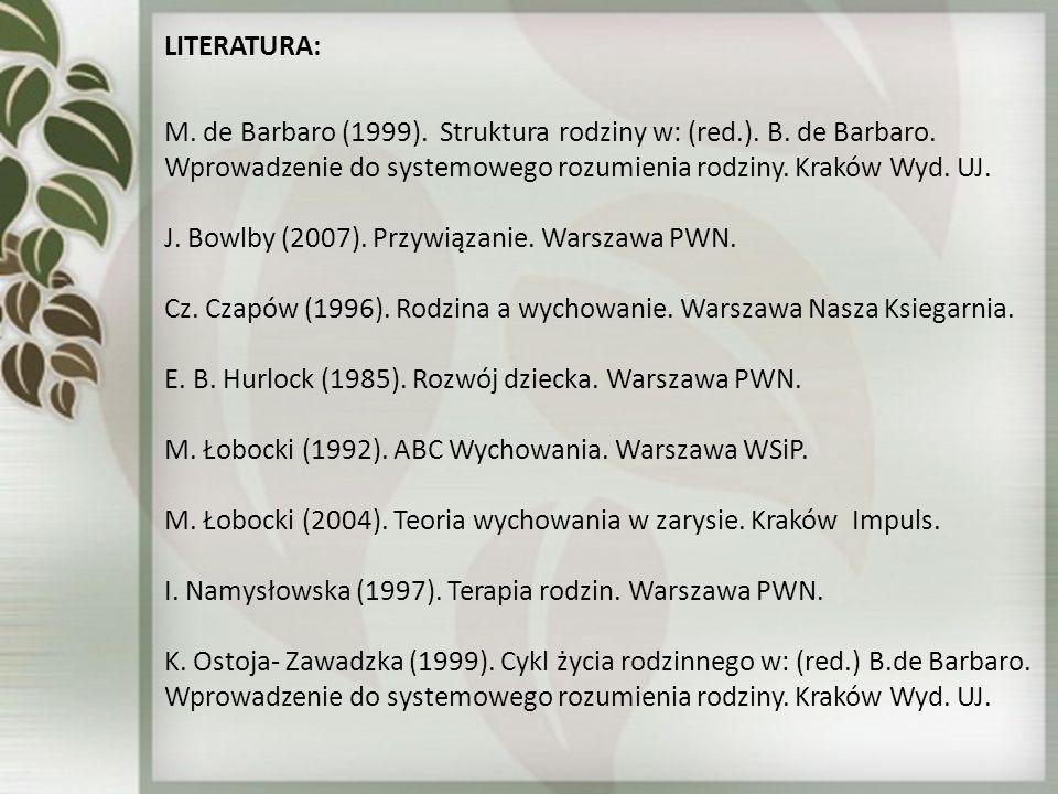 LITERATURA: M. de Barbaro (1999). Struktura rodziny w: (red.). B. de Barbaro. Wprowadzenie do systemowego rozumienia rodziny. Kraków Wyd. UJ. J. Bowlb