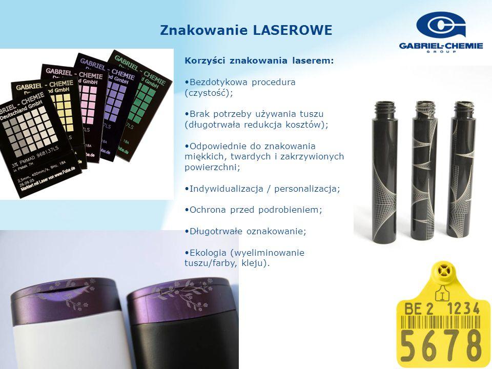 Znakowanie LASEROWE Korzyści znakowania laserem: Bezdotykowa procedura (czystość); Brak potrzeby używania tuszu (długotrwała redukcja kosztów); Odpowiednie do znakowania miękkich, twardych i zakrzywionych powierzchni; Indywidualizacja / personalizacja; Ochrona przed podrobieniem; Długotrwałe oznakowanie; Ekologia (wyeliminowanie tuszu/farby, kleju).