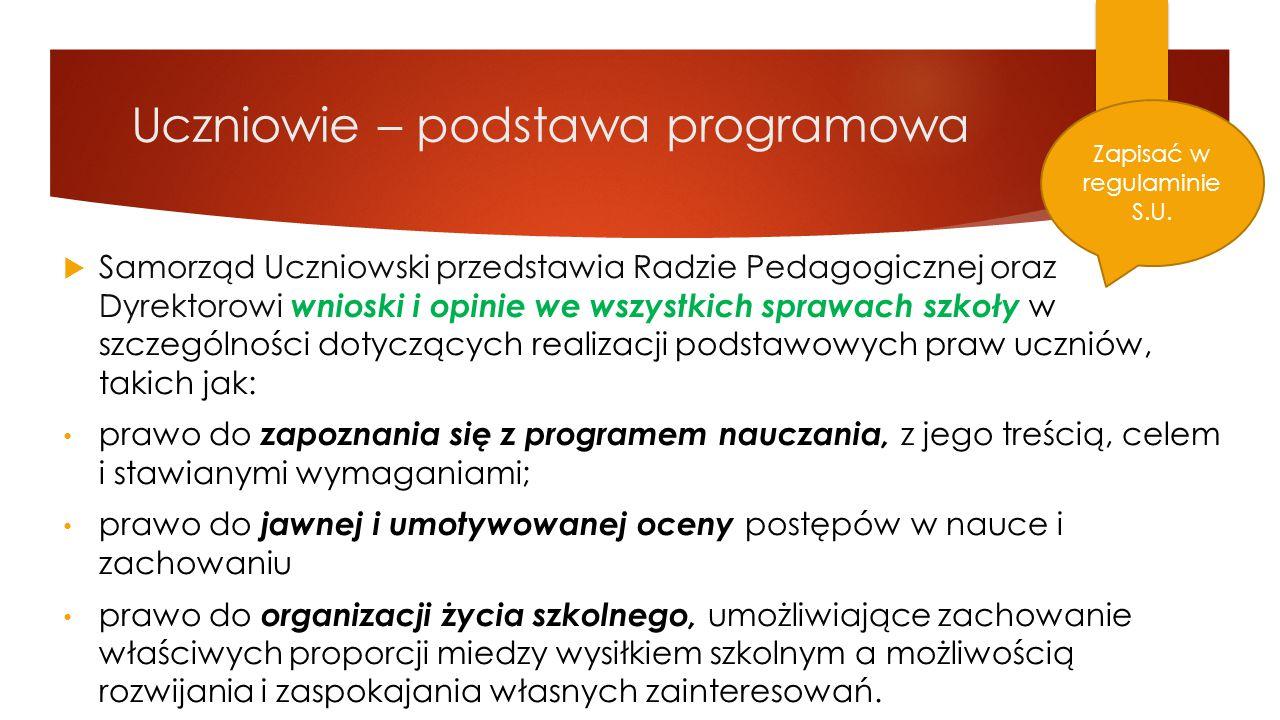 Uczniowie – podstawa programowa  Samorząd Uczniowski przedstawia Radzie Pedagogicznej oraz Dyrektorowi wnioski i opinie we wszystkich sprawach szkoły