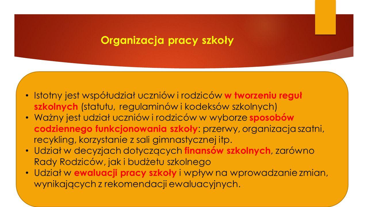 Organizacja pracy szkoły Istotny jest współudział uczniów i rodziców w tworzeniu reguł szkolnych (statutu, regulaminów i kodeksów szkolnych) Ważny jes