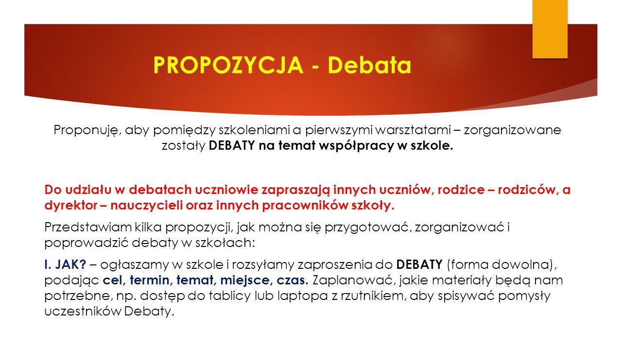 PROPOZYCJA - Debata Proponuję, aby pomiędzy szkoleniami a pierwszymi warsztatami – zorganizowane zostały DEBATY na temat współpracy w szkole. Do udzia
