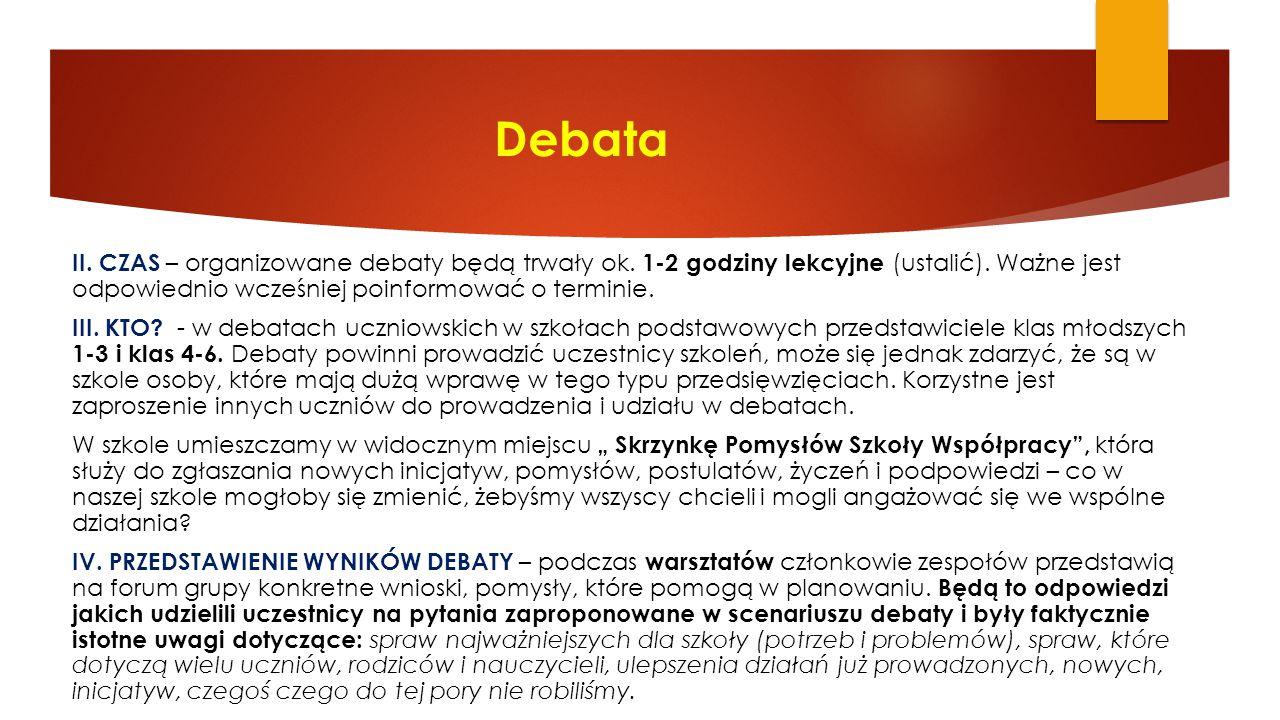 Debata II. CZAS – organizowane debaty będą trwały ok. 1-2 godziny lekcyjne (ustalić). Ważne jest odpowiednio wcześniej poinformować o terminie. III. K