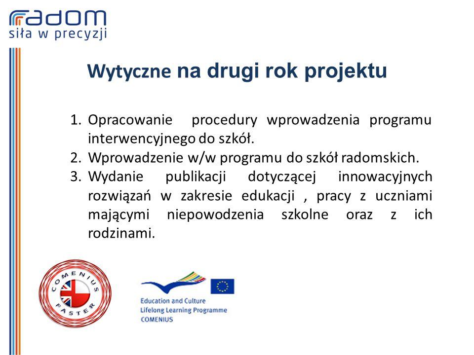 Wytyczne na drugi rok projektu 1.Opracowanie procedury wprowadzenia programu interwencyjnego do szkół.