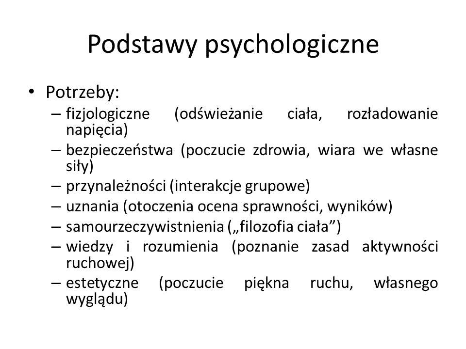 Typy motywacji Wg Winiarskiego: – aktywnościowo-hedonistyczny (biologiczna potrzeba ruchu) – relaksowo-kataryczny (ucieczka od codzienności, rozładowanie stresu) – zdrowotno-higieniczny (dbałość o zdrowie, sylwetkę) – społeczno-towarzyski (poszukiwanie więzi, przynależności grupowej) – emocjonalny (poszukiwanie silnych wrażeń) – ambicjonalny (potrzeba uznania, działanie na pokaz) – poznawczy (poszerzanie zainteresowań, nowe doświadczenia)