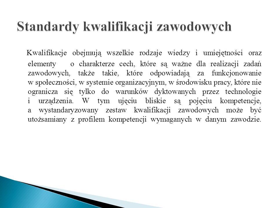 Kwalifikacje obejmują wszelkie rodzaje wiedzy i umiejętności oraz elementy o charakterze cech, które są ważne dla realizacji zadań zawodowych, także t