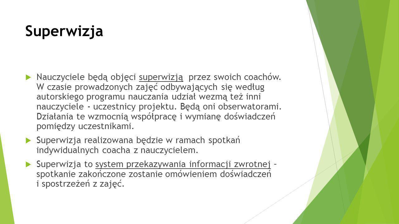 Superwizja  Nauczyciele będą objęci superwizją przez swoich coachów. W czasie prowadzonych zajęć odbywających się według autorskiego programu nauczan