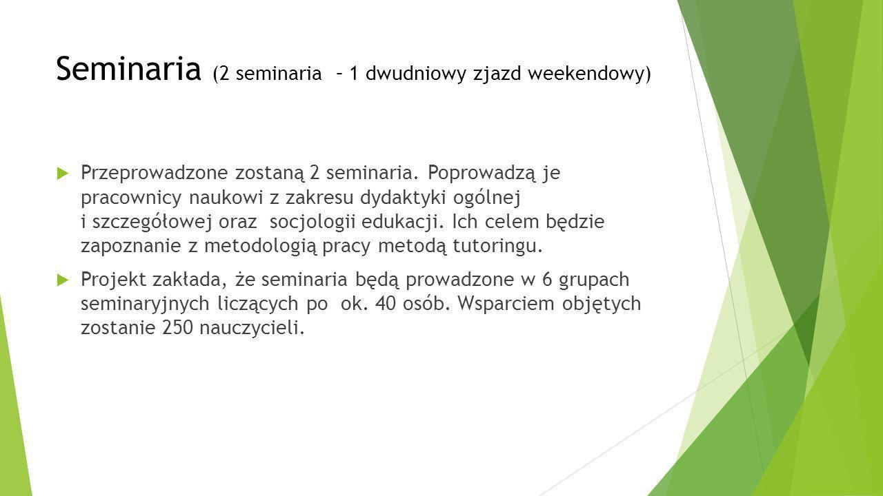 Seminaria (2 seminaria – 1 dwudniowy zjazd weekendowy)  Przeprowadzone zostaną 2 seminaria. Poprowadzą je pracownicy naukowi z zakresu dydaktyki ogól
