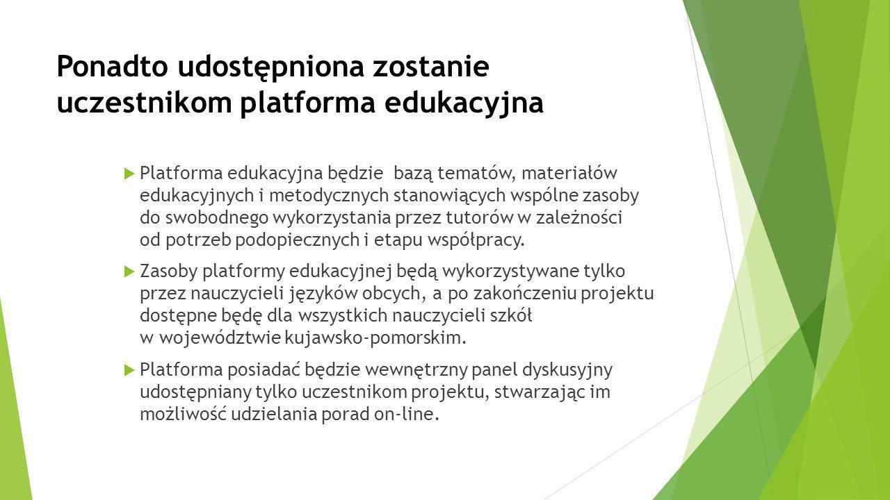 Ponadto udostępniona zostanie uczestnikom platforma edukacyjna  Platforma edukacyjna będzie bazą tematów, materiałów edukacyjnych i metodycznych stan