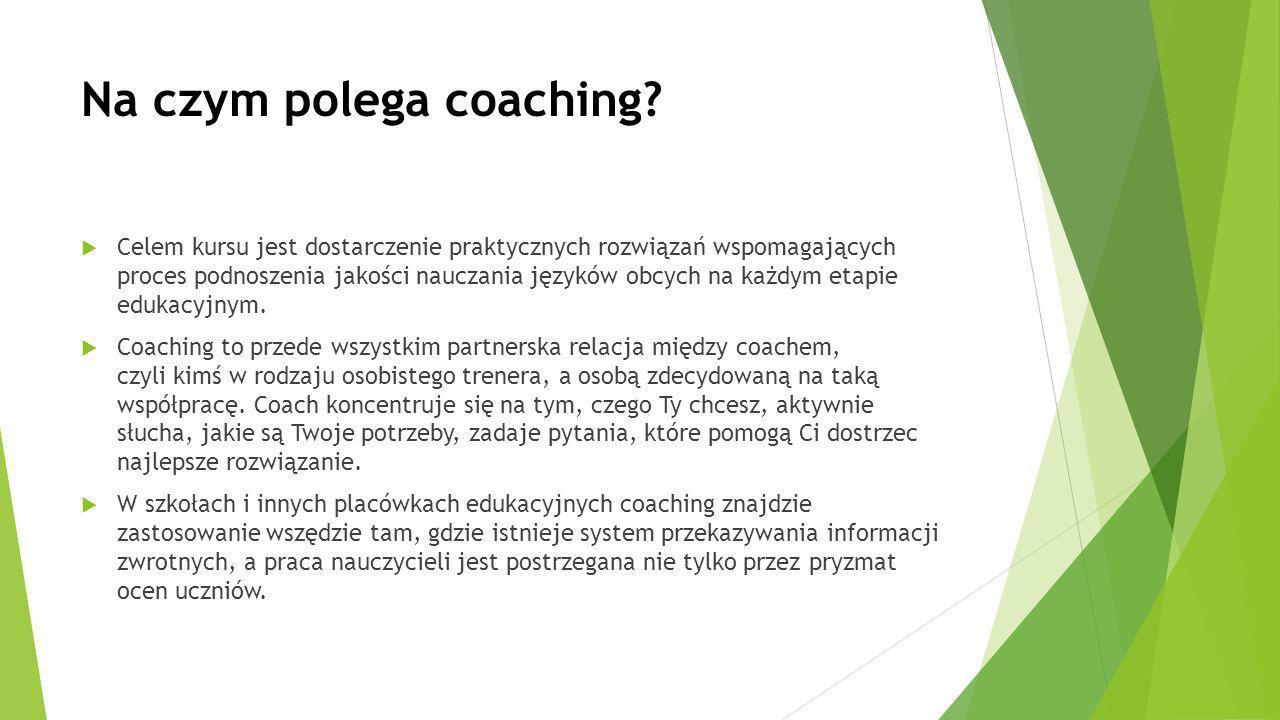 Coaching prowadzony będzie w oparciu o następujące metody pracy:  spotkania indywidualne – 20 godz.