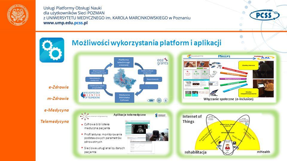 Możliwości wykorzystania platform i aplikacji e-Zdrowie m-Zdrowie e-Medycyna Telemedycyna Aplikacje telemedyczne Cyfrowa biblioteka medyczna pacjenta Profilaktyka: monitorowanie podstawowych parametrów zdrowotnych Sieciowe usługi analizy danych pacjenta Internet of Things mHealth rehabilitacja Włączanie społeczne (e-Inclusion)
