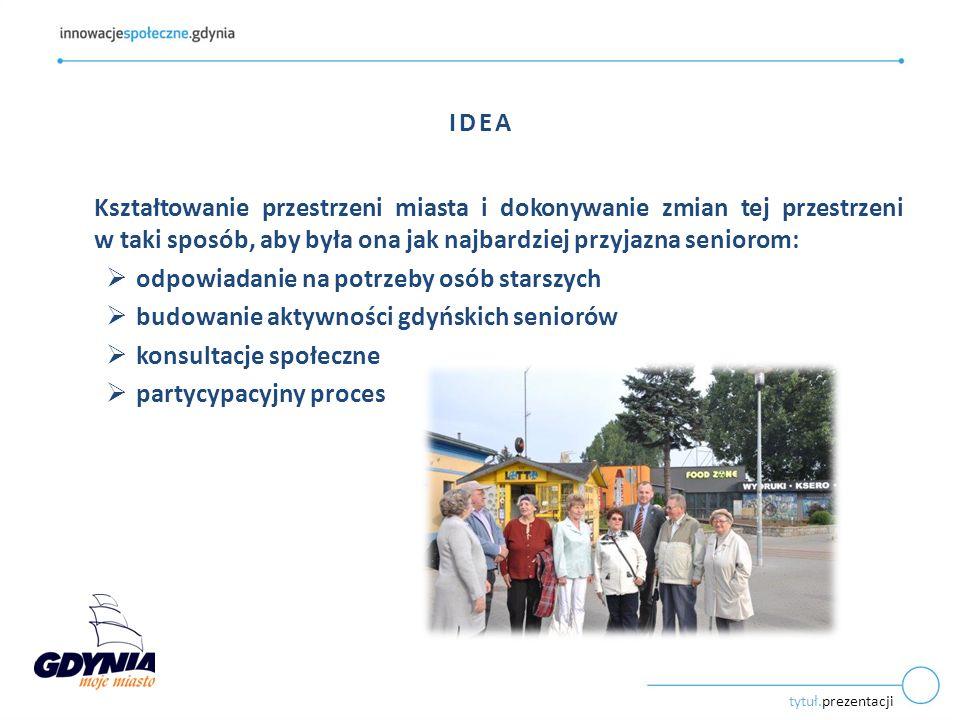 tytuł.prezentacji IDEA Kształtowanie przestrzeni miasta i dokonywanie zmian tej przestrzeni w taki sposób, aby była ona jak najbardziej przyjazna seniorom:  odpowiadanie na potrzeby osób starszych  budowanie aktywności gdyńskich seniorów  konsultacje społeczne  partycypacyjny proces