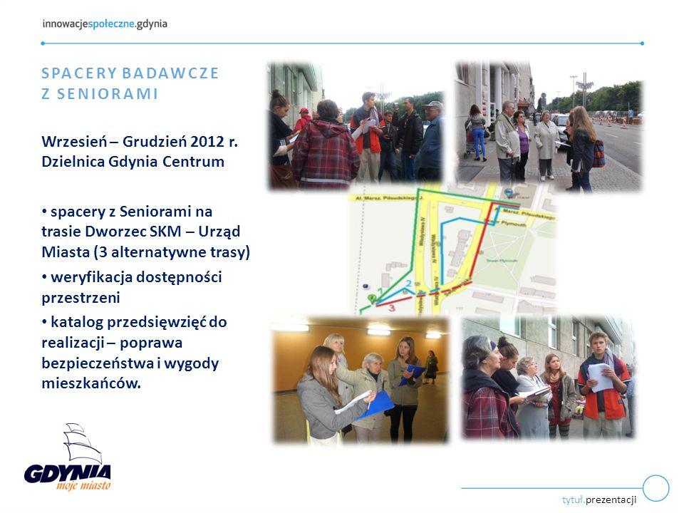 tytuł.prezentacji SPACERY BADAWCZE Z SENIORAMI Wrzesień – Grudzień 2012 r.
