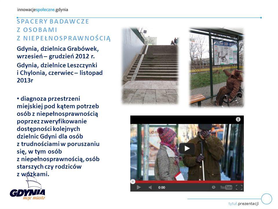 tytuł.prezentacji SPACERY BADAWCZE Z OSOBAMI Z NIEPEŁNOSPRAWNOŚCIĄ Gdynia, dzielnica Grabówek, wrzesień – grudzień 2012 r.