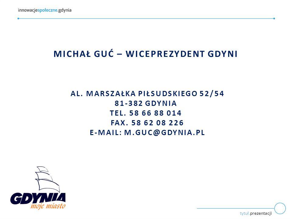 tytuł.prezentacji MICHAŁ GUĆ – WICEPREZYDENT GDYNI AL. MARSZAŁKA PIŁSUDSKIEGO 52/54 81-382 GDYNIA TEL. 58 66 88 014 FAX. 58 62 08 226 E-MAIL: M.GUC@GD