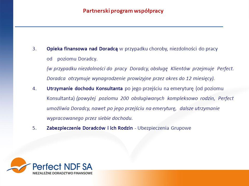 Partnerski program współpracy 3.Opieka finansowa nad Doradcą w przypadku choroby, niezdolności do pracy od poziomu Doradcy.