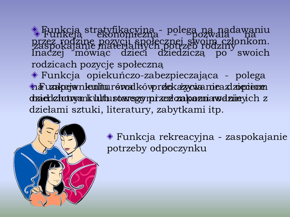 Do podstawowych funkcji rodziny zaliczamy : Funkcja prokreacyjna - wydawanie na świat potomstwa Funkcja socjalizacyjna - przygotowanie dzieci do samod