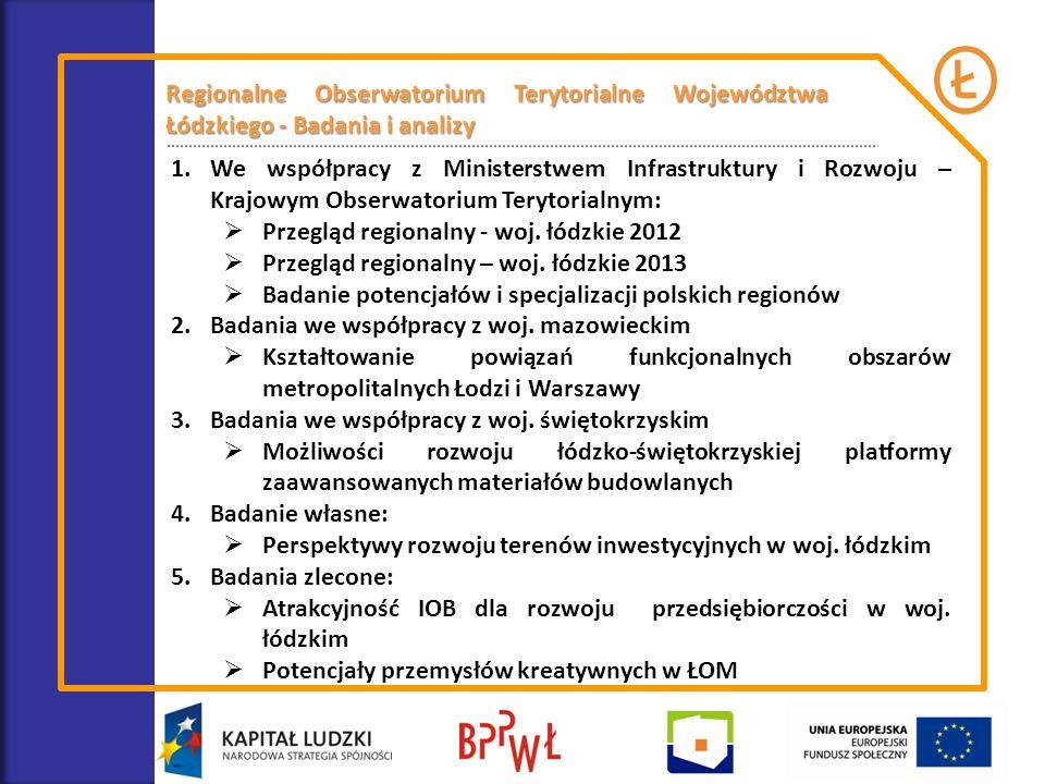 Regionalne Obserwatorium Terytorialne Województwa Łódzkiego - Badania i analizy 1.We współpracy z Ministerstwem Infrastruktury i Rozwoju – Krajowym Ob