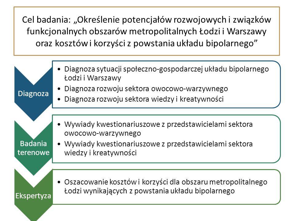 """Cel badania: """"Określenie potencjałów rozwojowych i związków funkcjonalnych obszarów metropolitalnych Łodzi i Warszawy oraz kosztów i korzyści z powsta"""