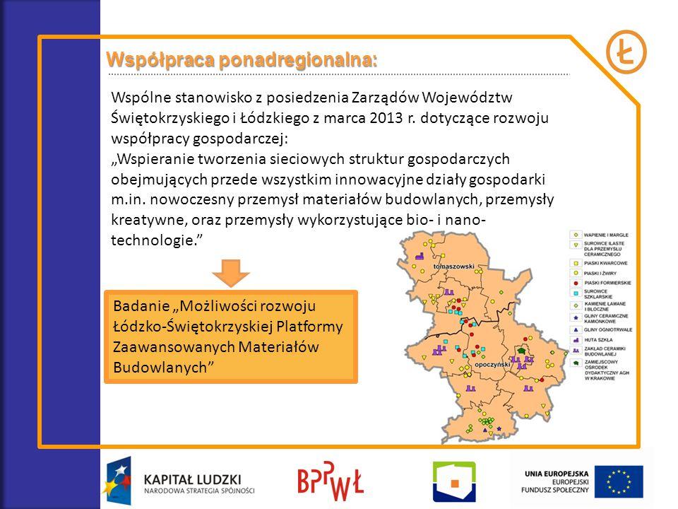 Współpraca ponadregionalna: Wspólne stanowisko z posiedzenia Zarządów Województw Świętokrzyskiego i Łódzkiego z marca 2013 r. dotyczące rozwoju współp