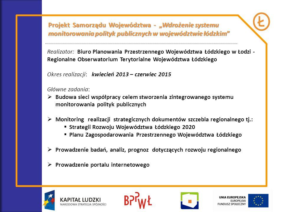 Realizator: Biuro Planowania Przestrzennego Województwa Łódzkiego w Łodzi - Regionalne Obserwatorium Terytorialne Województwa Łódzkiego Okres realizac
