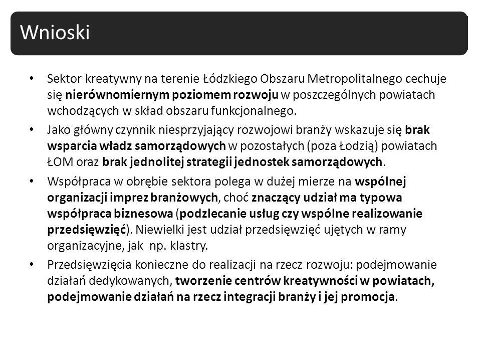 Sektor kreatywny na terenie Łódzkiego Obszaru Metropolitalnego cechuje się nierównomiernym poziomem rozwoju w poszczególnych powiatach wchodzących w s