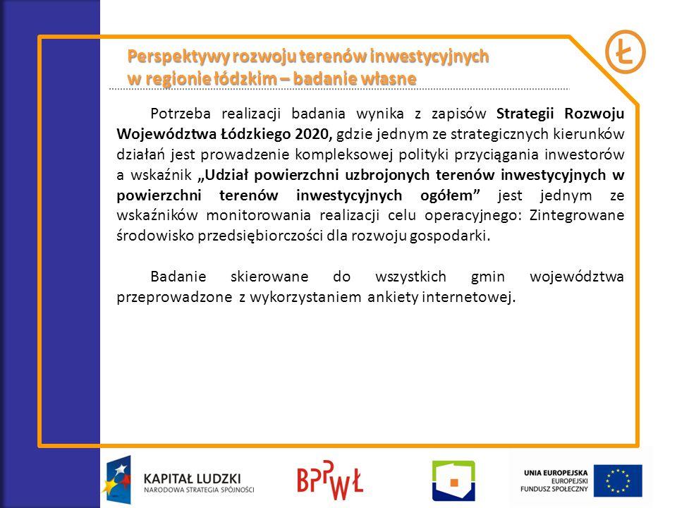 Perspektywy rozwoju terenów inwestycyjnych w regionie łódzkim – badanie własne Potrzeba realizacji badania wynika z zapisów Strategii Rozwoju Wojewódz