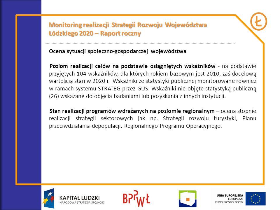 Monitorowanie stanu realizacji programów wdrażanych na poziomie regionalnym 1.Regionalna Strategia Innowacji dla Województwa Łódzkiego LORIS 2030 2.Plan przeciwdziałania depopulacji w województwie łódzkim 3.Wieloletni plan działań na rzecz rozwoju i upowszechniania Ekonomii Społecznej w Województwie Łódzkim na lata 2013–2020 4.Wojewódzka strategia w zakresie polityki społecznej na lata 2007- 2020 5.Regionalny Program Ochrony Zdrowia Psychicznego na lata 2011-2015 6.Regionalny Plan Działań na rzecz zatrudnienia w województwie łódzkim na rok 2014 7.Program rozwoju turystyki w województwie łódzkim na lata 2007 – 2020 8.Program Współpracy Samorządu Województwa Łódzkiego z organizacjami pozarządowymi na rok 2014 9.Program rozwoju kultury w województwie łódzkim na lata 2014-2020 10.Wojewódzki Program Opieki nad Zabytkami w Województwie Łódzkim na lata 2012-2015.