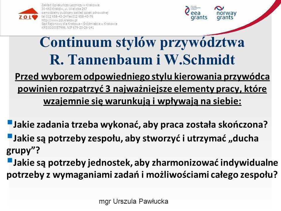 Continuum stylów przywództwa R. Tannenbaum i W.Schmidt Zakład Opiekuńczo-Leczniczy w Krakowie 30-663 Kraków, ul. Wielicka 267 samodzielny publiczny za