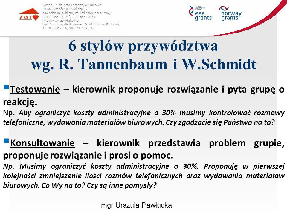 6 stylów przywództwa wg. R. Tannenbaum i W.Schmidt Zakład Opiekuńczo-Leczniczy w Krakowie 30-663 Kraków, ul. Wielicka 267 samodzielny publiczny zakład