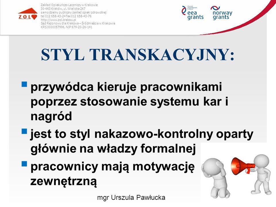 STYL TRANSKACYJNY: Zakład Opiekuńczo-Leczniczy w Krakowie 30-663 Kraków, ul. Wielicka 267 samodzielny publiczny zakład opieki zdrowotnej tel 012 658-4