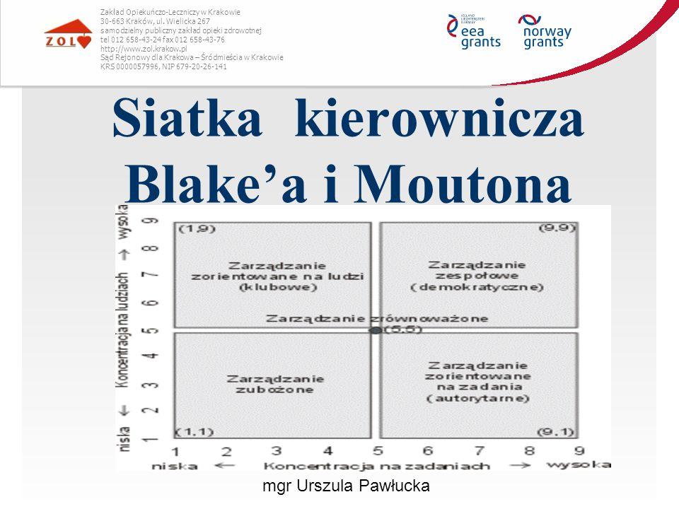 Siatka kierownicza Blake'a i Moutona Zakład Opiekuńczo-Leczniczy w Krakowie 30-663 Kraków, ul. Wielicka 267 samodzielny publiczny zakład opieki zdrowo
