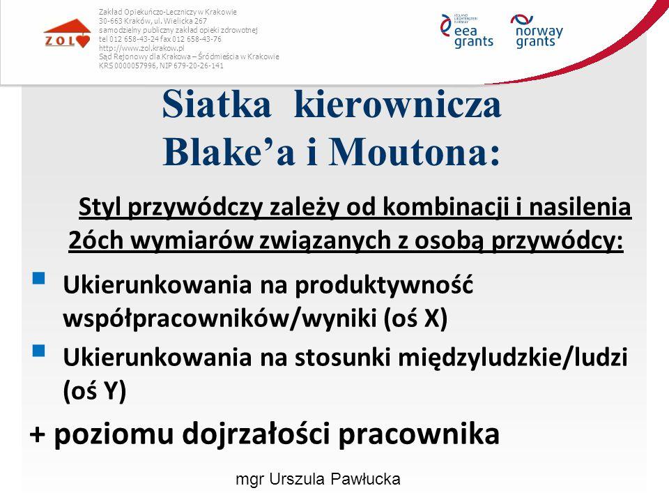 Siatka kierownicza Blake'a i Moutona: Zakład Opiekuńczo-Leczniczy w Krakowie 30-663 Kraków, ul. Wielicka 267 samodzielny publiczny zakład opieki zdrow