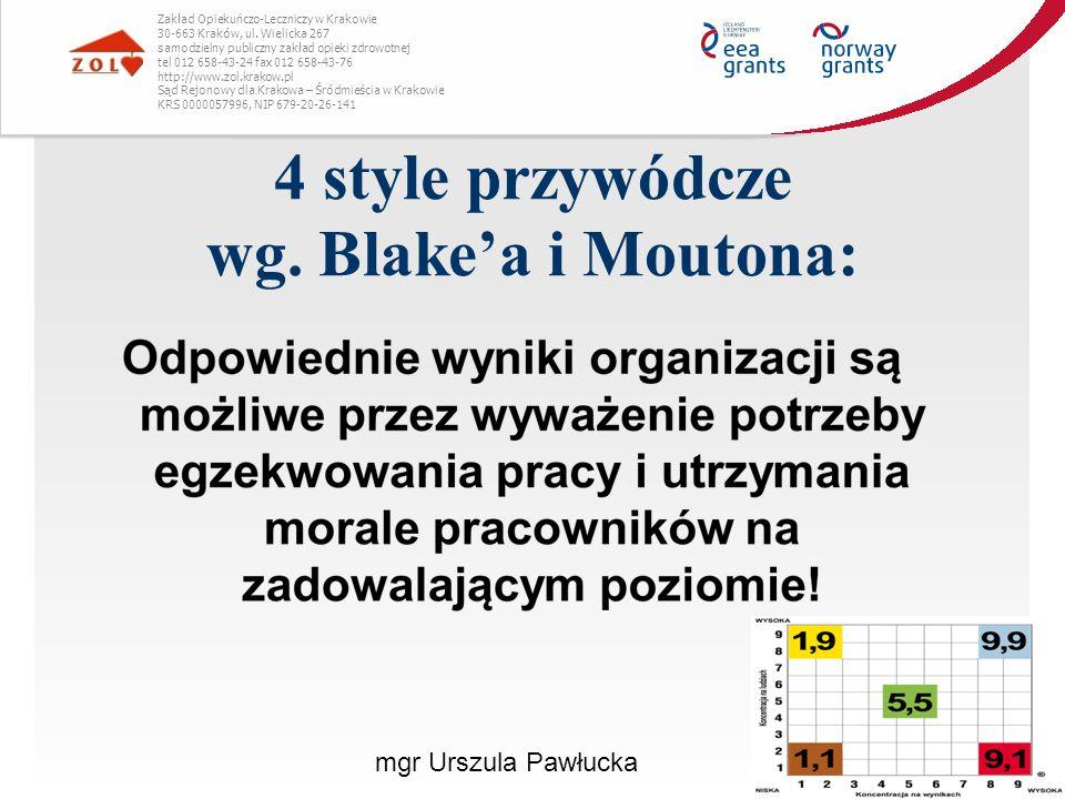 4 style przywódcze wg. Blake'a i Moutona: Zakład Opiekuńczo-Leczniczy w Krakowie 30-663 Kraków, ul. Wielicka 267 samodzielny publiczny zakład opieki z