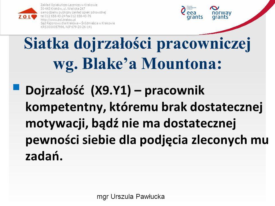 Siatka dojrzałości pracowniczej wg. Blake'a Mountona : Zakład Opiekuńczo-Leczniczy w Krakowie 30-663 Kraków, ul. Wielicka 267 samodzielny publiczny za