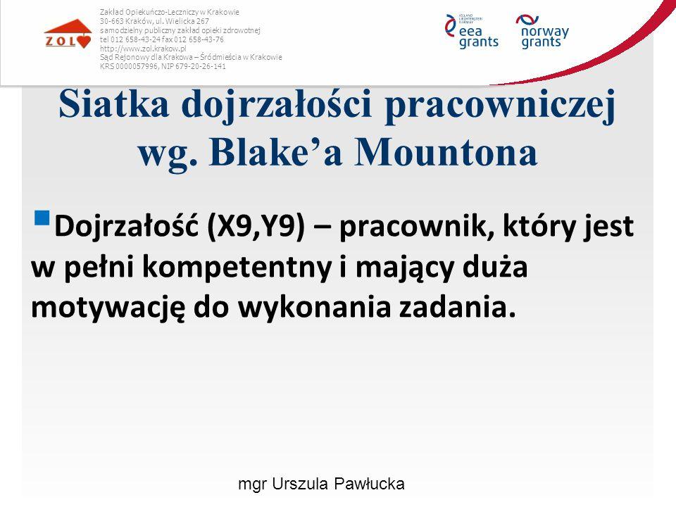 Siatka dojrzałości pracowniczej wg. Blake'a Mountona Zakład Opiekuńczo-Leczniczy w Krakowie 30-663 Kraków, ul. Wielicka 267 samodzielny publiczny zakł