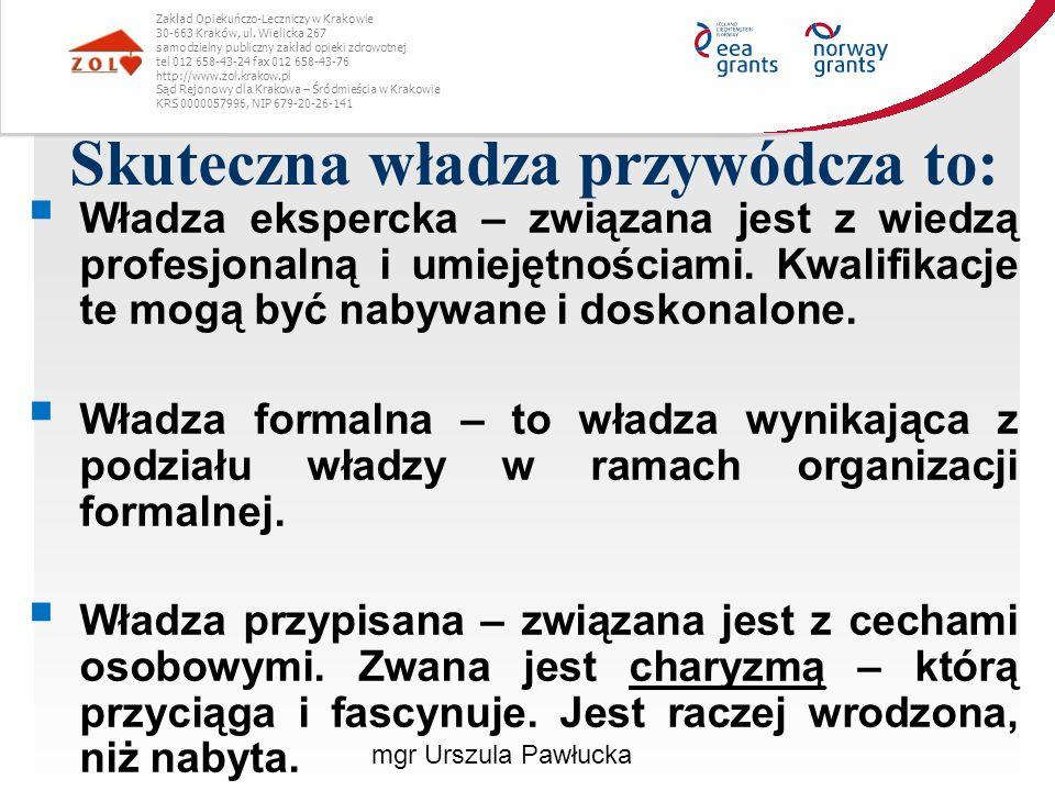 Skuteczna władza przywódcza to: Zakład Opiekuńczo-Leczniczy w Krakowie 30-663 Kraków, ul. Wielicka 267 samodzielny publiczny zakład opieki zdrowotnej
