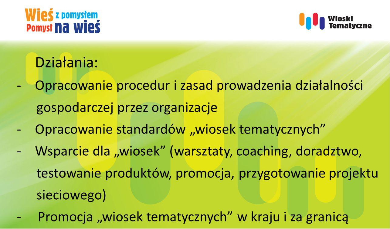 """Działania: -Opracowanie procedur i zasad prowadzenia działalności gospodarczej przez organizacje -Opracowanie standardów """"wiosek tematycznych"""" -Wsparc"""