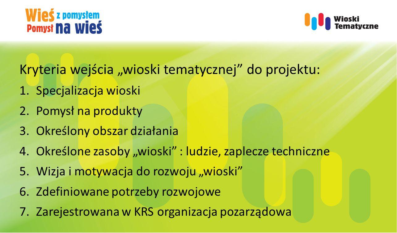 """Kryteria wejścia """"wioski tematycznej do projektu: 1.Specjalizacja wioski 2.Pomysł na produkty 3.Określony obszar działania 4.Określone zasoby """"wioski : ludzie, zaplecze techniczne 5.Wizja i motywacja do rozwoju """"wioski 6.Zdefiniowane potrzeby rozwojowe 7.Zarejestrowana w KRS organizacja pozarządowa"""