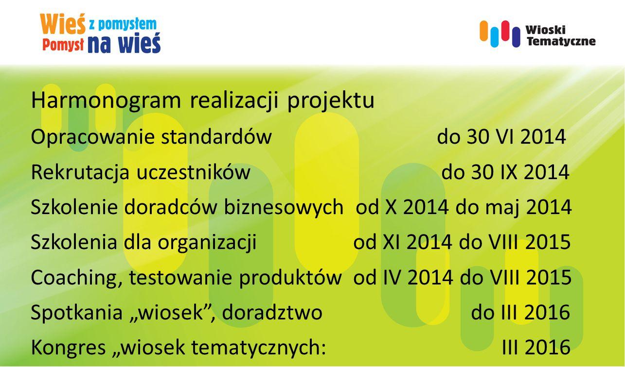 Harmonogram realizacji projektu Opracowanie standardów do 30 VI 2014 Rekrutacja uczestników do 30 IX 2014 Szkolenie doradców biznesowych od X 2014 do