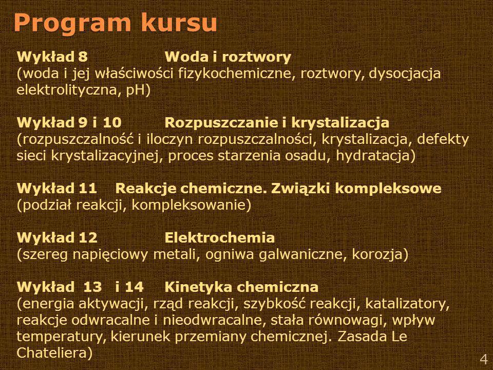 Program kursu 5 Wykład 15 Elementy chemii organicznej (Związki organiczne: budowa, występowanie, podstawowe reakcje.
