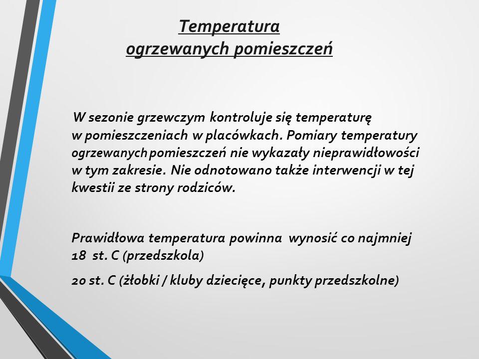 Temperatura ogrzewanych pomieszczeń W sezonie grzewczym kontroluje się temperaturę w pomieszczeniach w placówkach.
