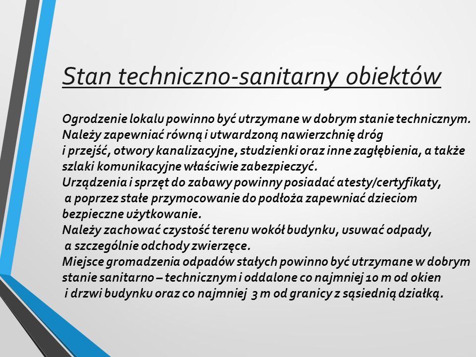 Stan techniczno-sanitarny obiektów Ogrodzenie lokalu powinno być utrzymane w dobrym stanie technicznym.