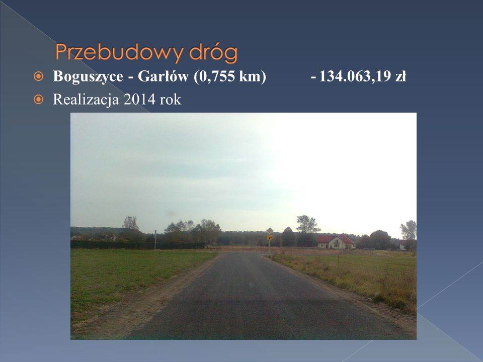  Boguszyce - Garłów (0,755 km) -134.063,19 zł  Realizacja 2014 rok