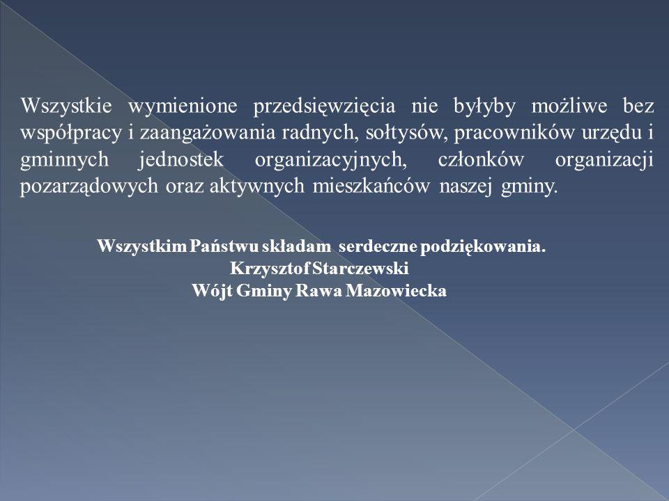 Wszystkie wymienione przedsięwzięcia nie byłyby możliwe bez współpracy i zaangażowania radnych, sołtysów, pracowników urzędu i gminnych jednostek organizacyjnych, członków organizacji pozarządowych oraz aktywnych mieszkańców naszej gminy.