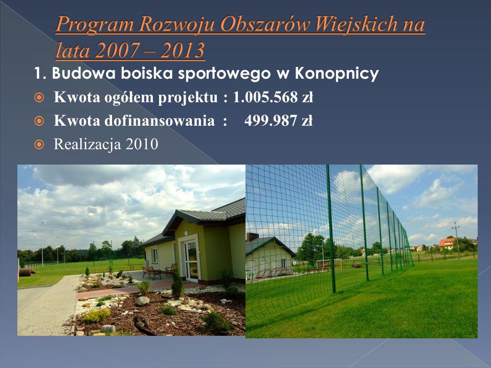 1. Budowa boiska sportowego w Konopnicy  Kwota ogółem projektu : 1.005.568 zł  Kwota dofinansowania : 499.987 zł  Realizacja 2010