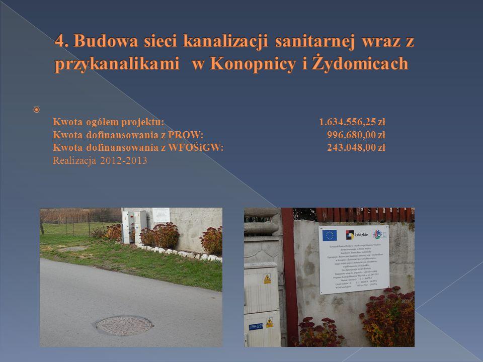  Kwota ogółem projektu:1.634.556,25 zł Kwota dofinansowania z PROW: 996.680,00 zł Kwota dofinansowania z WFOŚiGW: 243.048,00 zł Realizacja 2012-2013