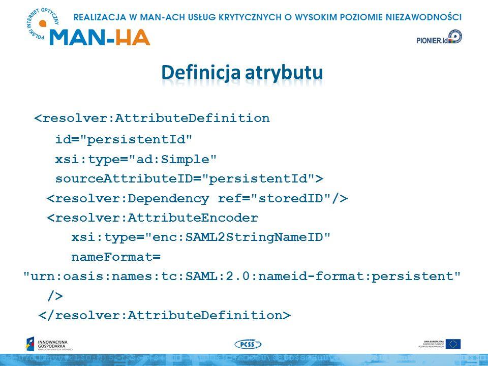 <resolver:AttributeDefinition id= persistentId xsi:type= ad:Simple sourceAttributeID= persistentId > <resolver:AttributeEncoder xsi:type= enc:SAML2StringNameID nameFormat= urn:oasis:names:tc:SAML:2.0:nameid-format:persistent />
