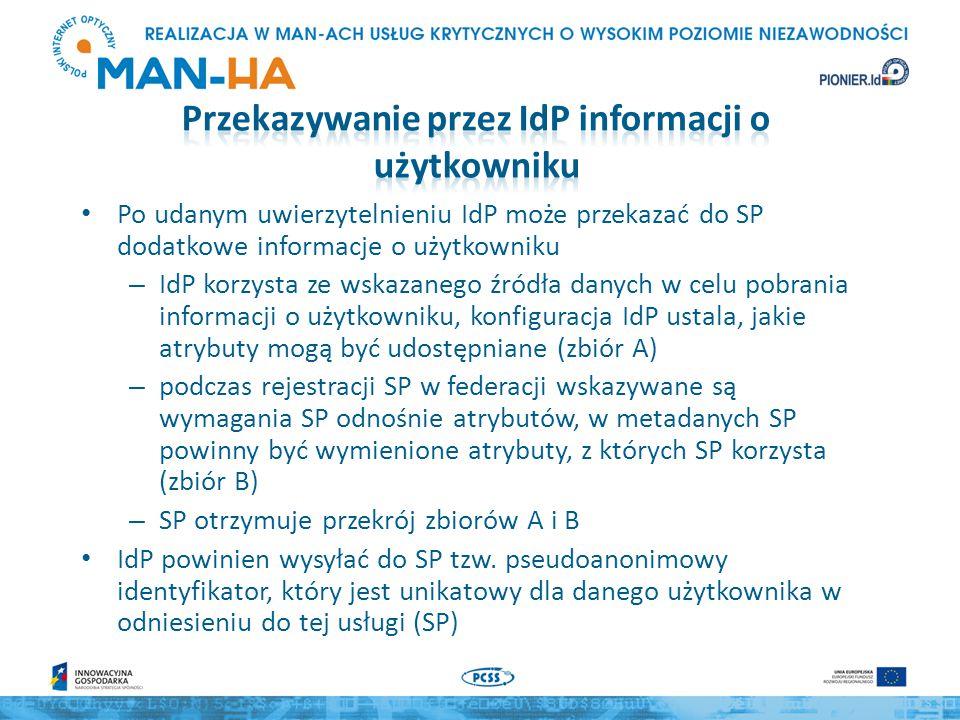 Po udanym uwierzytelnieniu IdP może przekazać do SP dodatkowe informacje o użytkowniku – IdP korzysta ze wskazanego źródła danych w celu pobrania informacji o użytkowniku, konfiguracja IdP ustala, jakie atrybuty mogą być udostępniane (zbiór A) – podczas rejestracji SP w federacji wskazywane są wymagania SP odnośnie atrybutów, w metadanych SP powinny być wymienione atrybuty, z których SP korzysta (zbiór B) – SP otrzymuje przekrój zbiorów A i B IdP powinien wysyłać do SP tzw.
