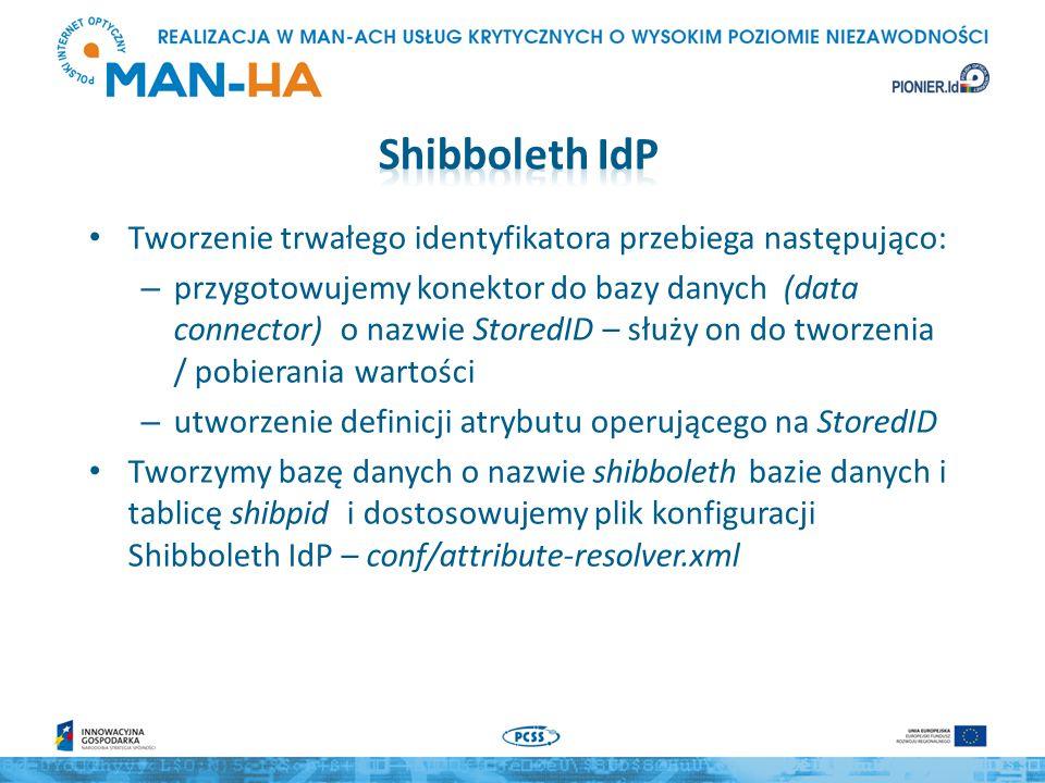 Tworzenie trwałego identyfikatora przebiega następująco: – przygotowujemy konektor do bazy danych (data connector) o nazwie StoredID – służy on do tworzenia / pobierania wartości – utworzenie definicji atrybutu operującego na StoredID Tworzymy bazę danych o nazwie shibboleth bazie danych i tablicę shibpid i dostosowujemy plik konfiguracji Shibboleth IdP – conf/attribute-resolver.xml