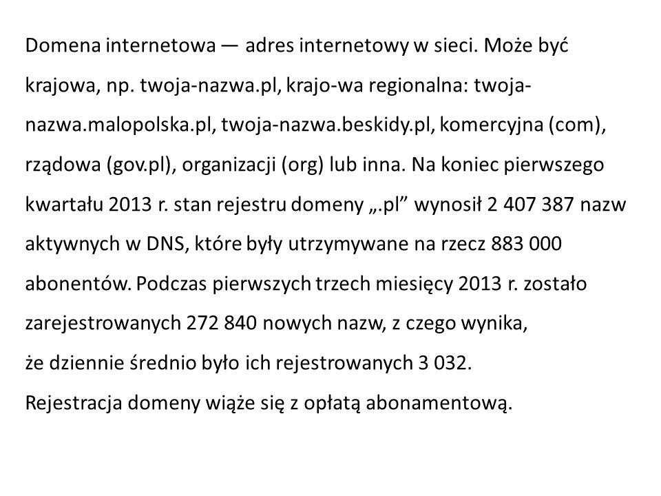 Domena internetowa — adres internetowy w sieci. Może być krajowa, np. twoja-nazwa.pl, krajo-wa regionalna: twoja- nazwa.malopolska.pl, twoja-nazwa.bes